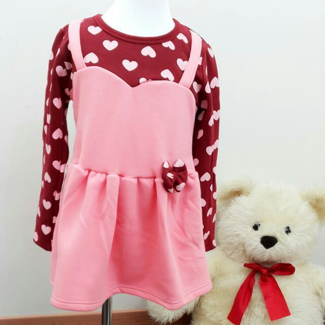 出清全新韓版 免運費 現貨 聖誕紅假兩件鋪棉點點小洋裝 質料超好