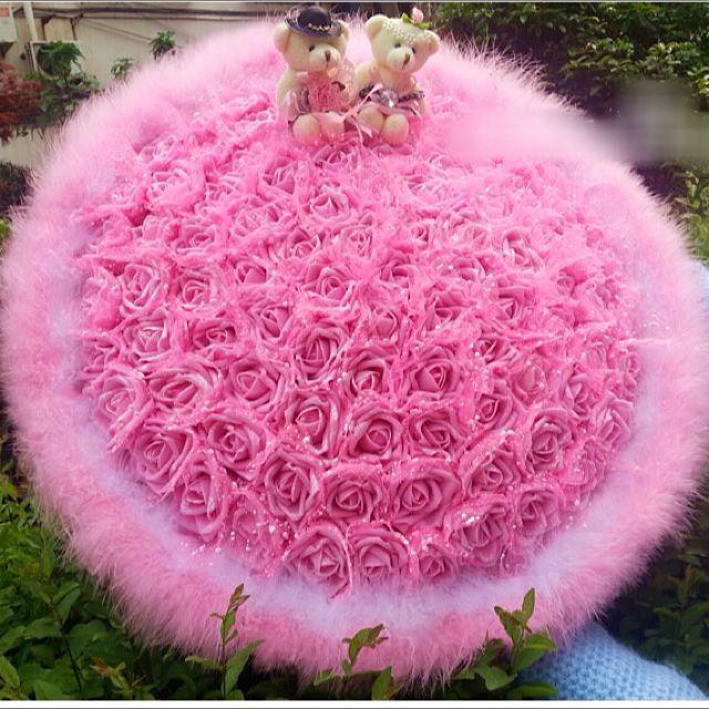 Teddy Bear Couple Wedding Giant Love Floral Flower Bouquet PA369 ...