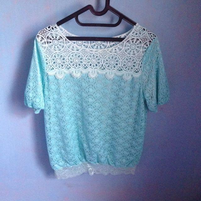 Lace top mint blouse baloon bkk
