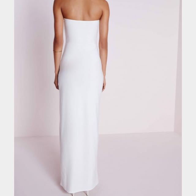bd4580208a4 Missguided White Crepe Bandeau Maxi Dress