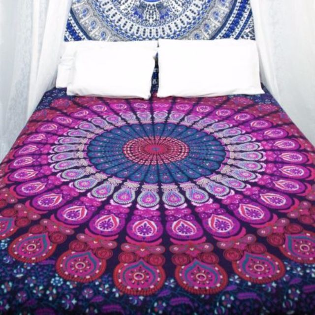 (PO) Purple/Pink Twin Indian Bedspread Mandala Throw Tapestry Hippie Wall Hanging Boho Dorm Decor