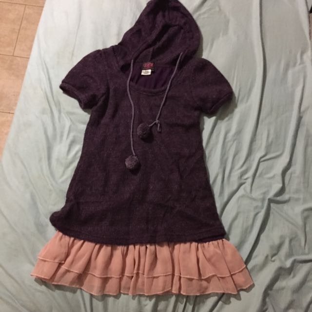 Purple Winter Hoodie Dress