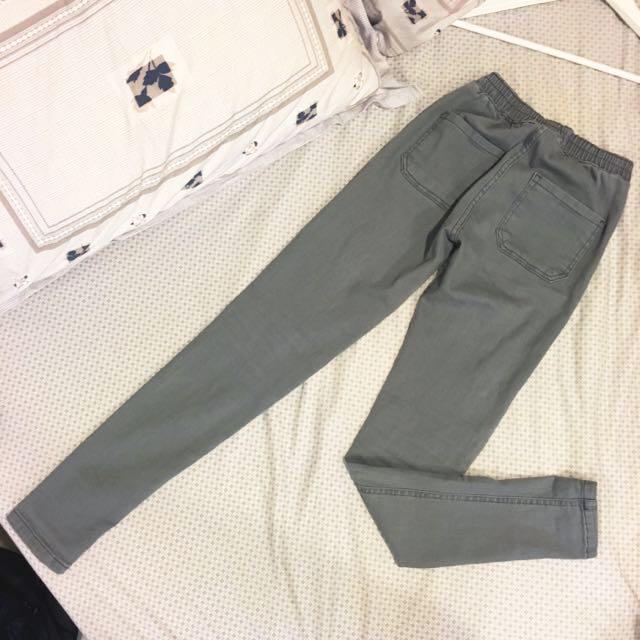 2143灰色高腰窄管褲s