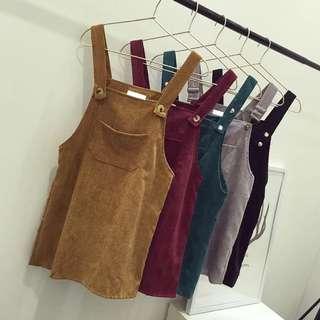 燈芯絨吊帶裙(7色)