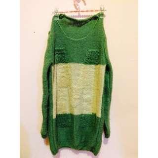 針織 毛衣 長版 綠 S/M