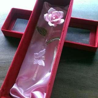 琉璃陶瓷玫瑰花擺飾