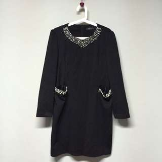 $19 1pc Black Dress With Beads Plus Size