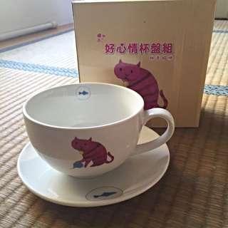 桃色貓咪 杯盤組(全新)