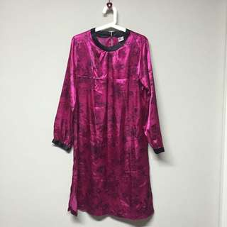 $15 1pc Pink Patterned Long Top With Skirt Suit