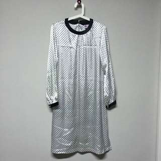 $15 1pc White Polkadots Long Blouse With Skirt Suit