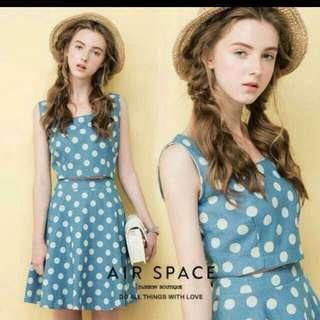 💎Air Space復古點點套裝上衣+裙