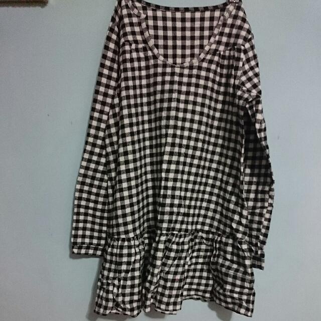 *買2送1*磨毛黑白格紋長版襯衫上衣襯衫洋裝