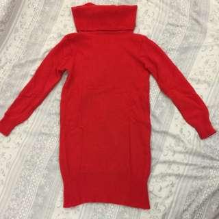 正韓 正紅長版針織上衣