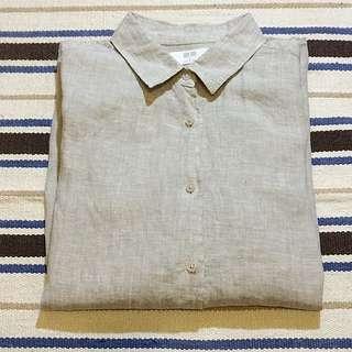 UNIQLO 春夏 特級亞麻長袖襯衫 米色 2015版型