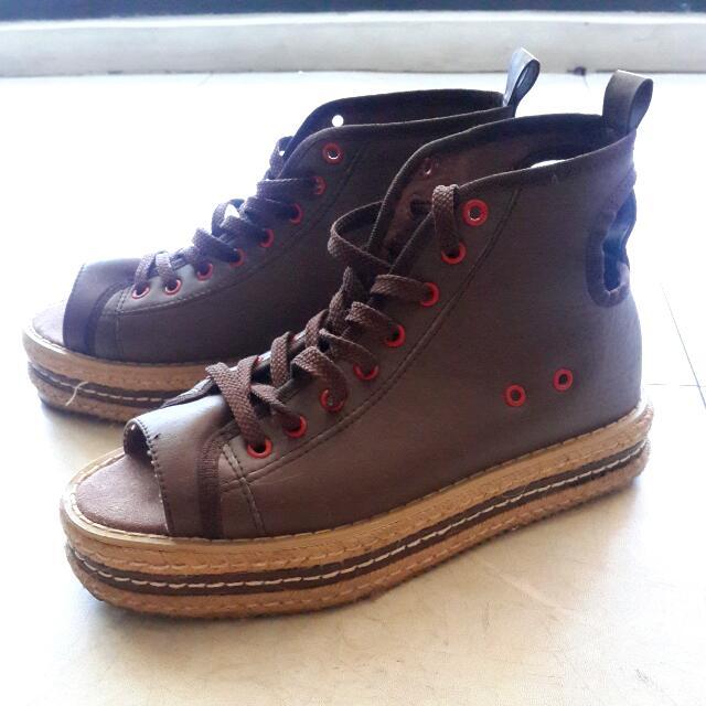 (2手)復古系女孩類編織魚口鞋