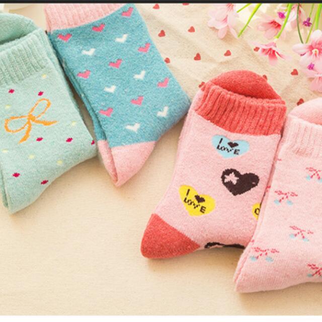 5雙-防寒透氣女襪保暖厚襪兔毛襪-中筒