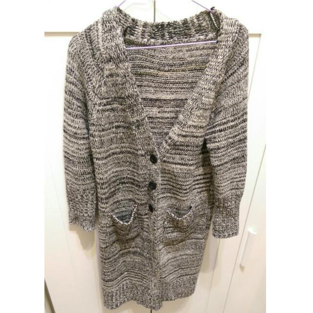 降😂長版毛衣外套