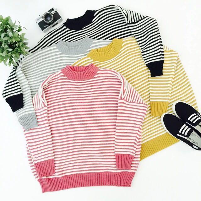 韓版圓領橫條寬版毛衣