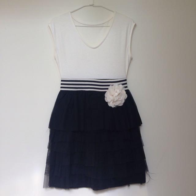 18🍀黑白澎紗裙洋裝
