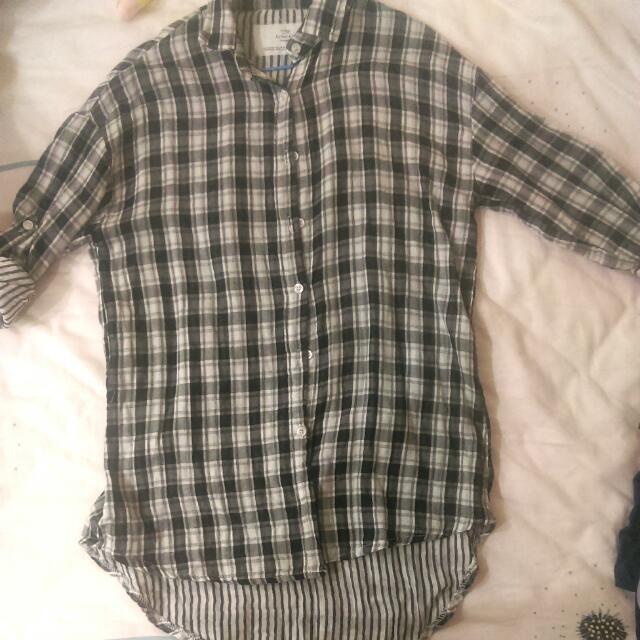 (二手)灰色格紋知性長版襯衫