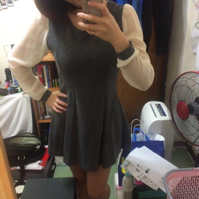 雪紡袖洋裝