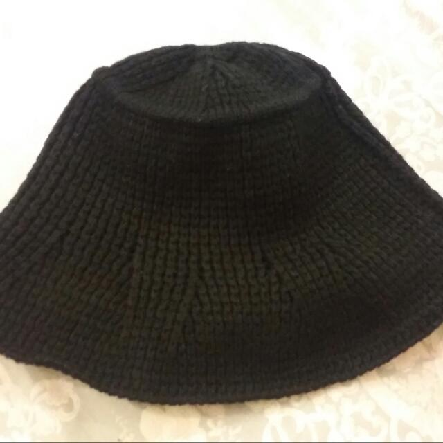 正韓黑色針織漁夫帽
