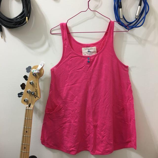 A La Sha粉紅色口袋不對稱無袖