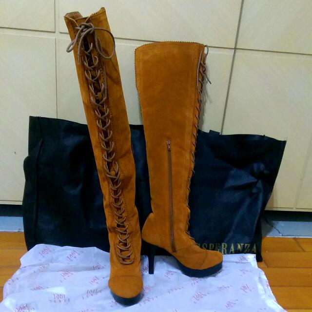 (全新) 專櫃1991 棕色麂皮 及膝長靴 23.5