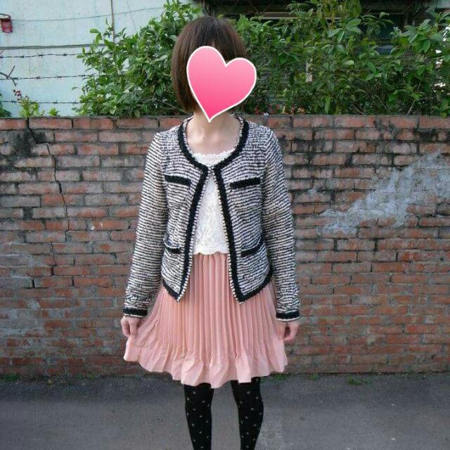 日本品牌 小香風 條紋毛呢外套