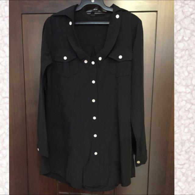 全新 絲質雪紡長襯衫 黑色 可面交(賣場3件免運)