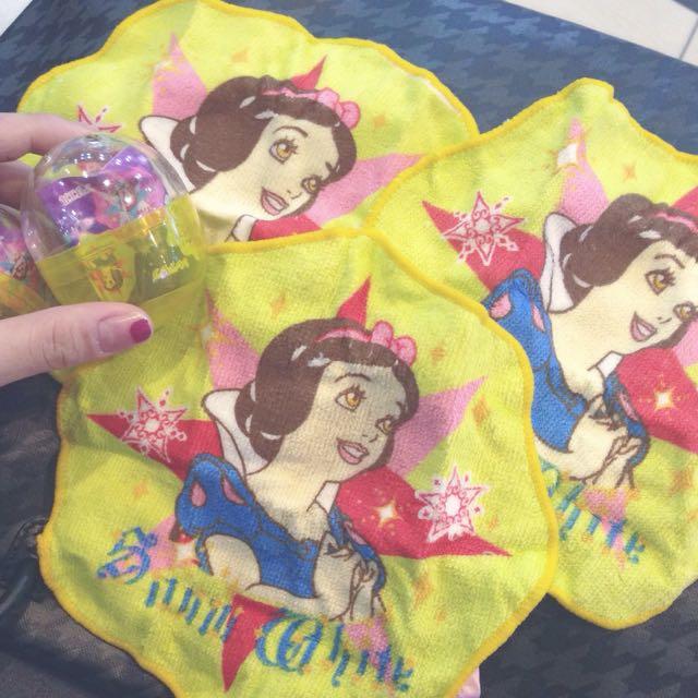 迪士尼 公主 扭蛋 白雪公主手帕