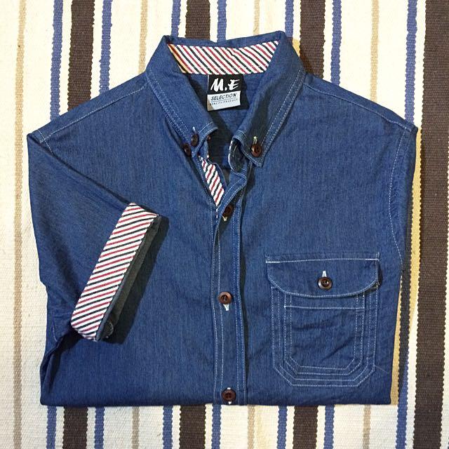 深藍 牛仔襯衫短袖 條紋反折拼接 扣領仿木鈕扣 春夏輕薄小版男裝