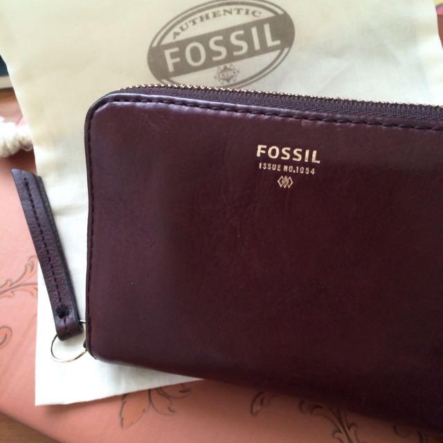 (保留中)(二手) FOSSIL 絕版公牛紅短夾錢包
