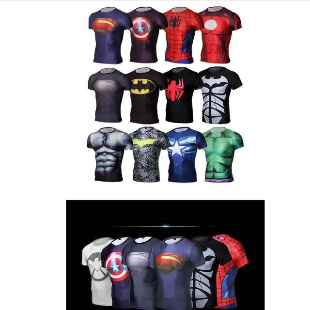a14a41165986e Avenger Superman Spider-Man Quick Dry Tights Men Short Sleeve ...
