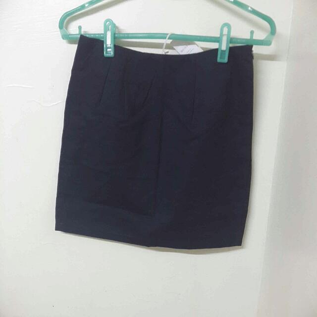 🎯MEIER.Q 知性簡約質感短裙  深藍色 M 全新