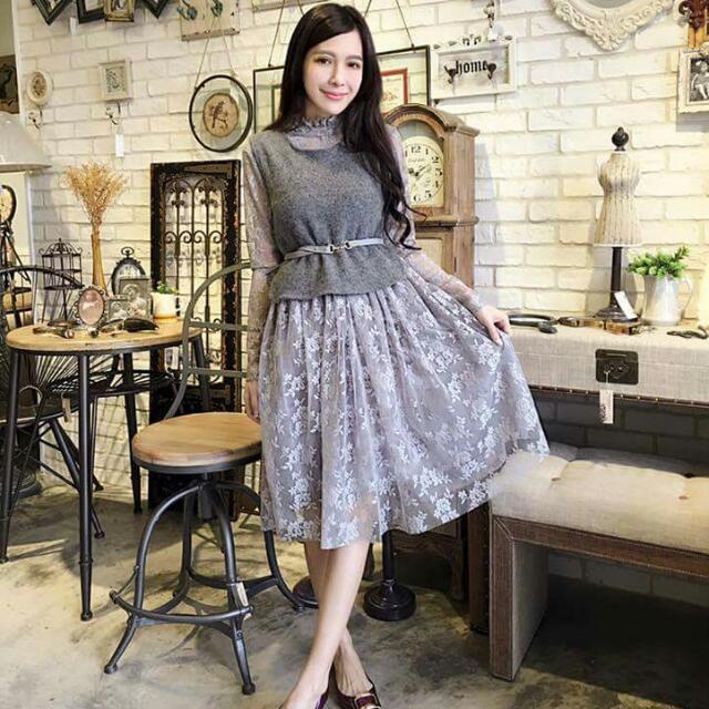 QQBOW 林鴒 兩件式蕾絲洋裝