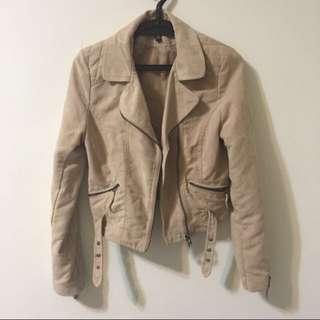 降❗️全新✨H&M短版米色騎士外套