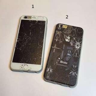 iphone 仿真超酷惡搞破碎手機殼 造型
