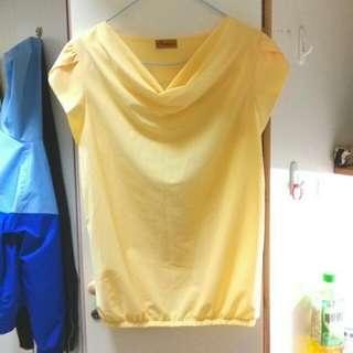 全新鵝黃色垂領雪紡上衣