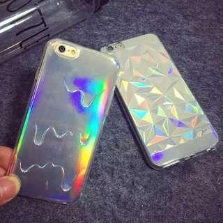 iphone 歐美風 鑽石切邊/融化 雷射反光 手機殼