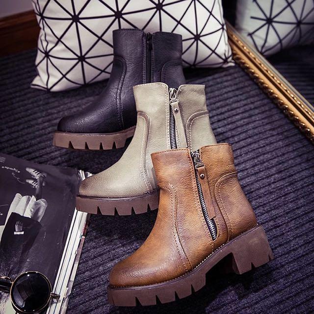 1119 歐美粗跟高跟馬丁靴英倫風女靴
