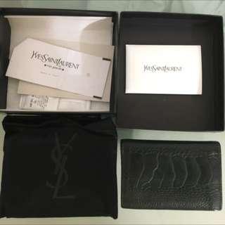 YSL Ostrich 駝鳥皮 Leather Card Holder Wallet Gucci LV Prada