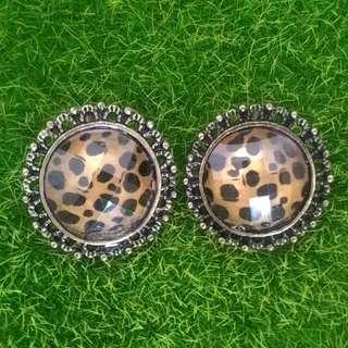 復古豹紋耳環