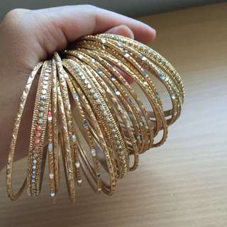 24 Bangles Gold Colour With Studs
