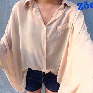 蝙蝠袖 寬袖 雪紡襯衫