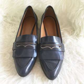 Charles & Keith Pointed Toe Loafers in Blue