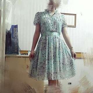 綠色翠花洋裝