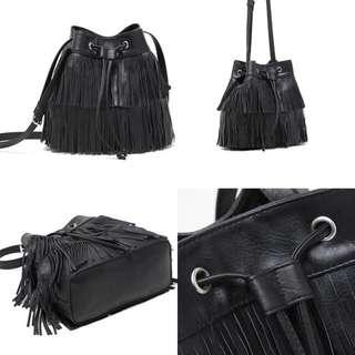 ☆Aly Look☆(待匯款)H&M黑色PU皮雙層流蘇桶包 經典單品單肩斜揹