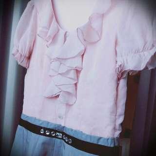 下殺⚡全新。假兩件粉紅雪紡拼接灰色裙連身洋裝