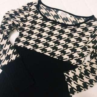 二手 千鳥紋 氣質針織修身洋裝